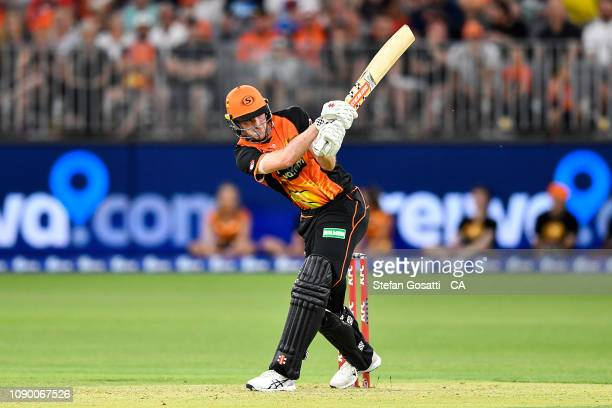 Ashton Turner of the Scorchers bats during the Big Bash League match between the Perth Scorchers and the Brisbane Heat at Optus Stadium on January 05...