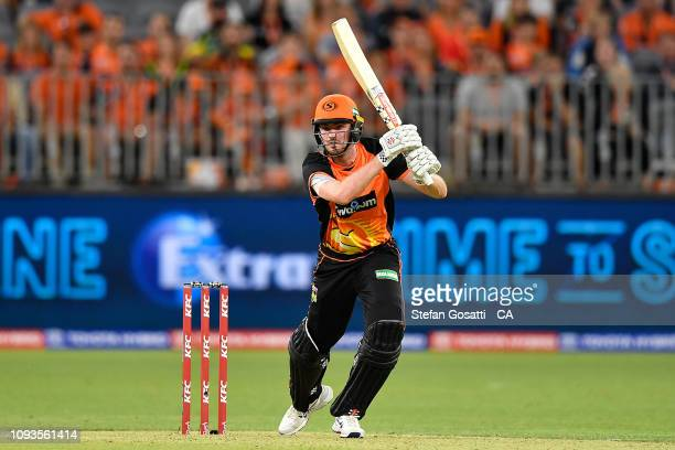 Ashton Turner of the Scorchers bats during the Big Bash League match between the Perth Scorchers and the Sydney Sixers at Optus Stadium on January 13...