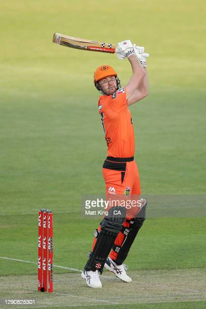 Ashton Turner of the Scorchers bats during the Big Bash League match between the Melbourne Renegades and Perth Scorchers at Blundstone Arena, on...