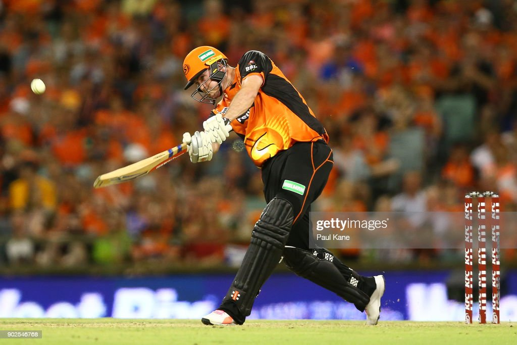 Ashton Turner of the Scorchers bats during the Big Bash League match between the Perth Scorchers and the Melbourne Renegades at WACA on January 8, 2018 in Perth, Australia.
