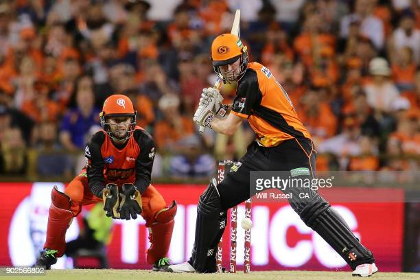 Ashton Turner of the Scorchers bats during the Big Bash League match between the Perth Scorchers and the Melbourne Renegades at WACA on January 8...