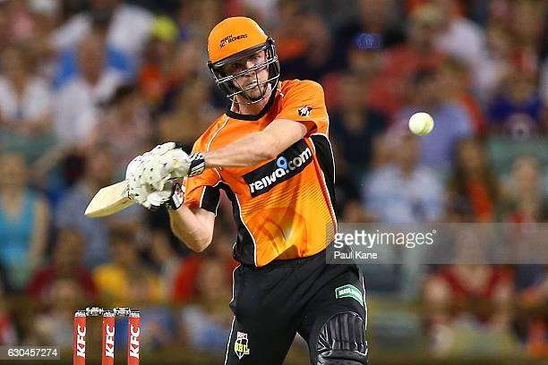 Ashton Turner of the Scorchers bats during the Big Bash League between the Perth Scorchers and Adelaide Strikers at WACA on December 23 2016 in Perth...