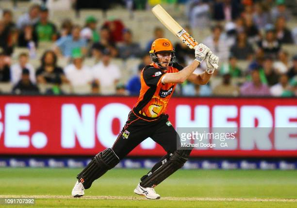 Ashton Turner of the Scorchers bats during the Melbourne Stars v Perth Scorchers BBL match at Melbourne Cricket Ground on January 09 2019 in...