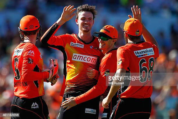 Ashton Turner of the Scorchers celebrates after taking the wicket of Peter Forrest of the Heat during the Big Bash League match between the Perth...