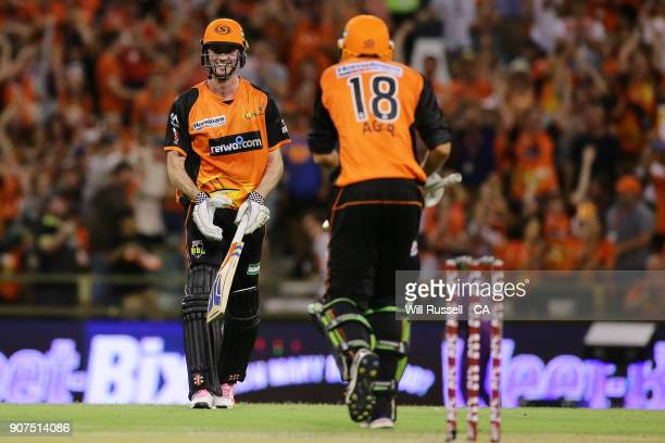 Ashton Turner of the Scorchers hits a six during the Big Bash League match between the Perth Scorchers and the Hobart Hurricanes at WACA on January...