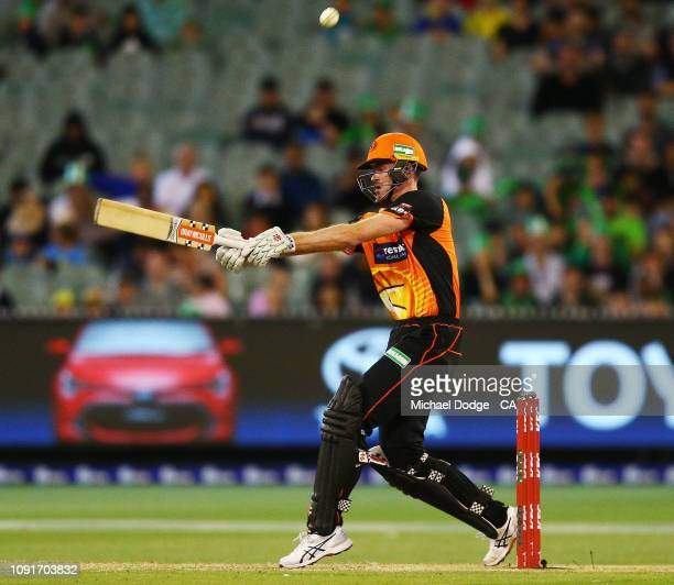 Ashton Turner of the Scorchers hits a six during the Melbourne Stars v Perth Scorchers BBL match at Melbourne Cricket Ground on January 09 2019 in...