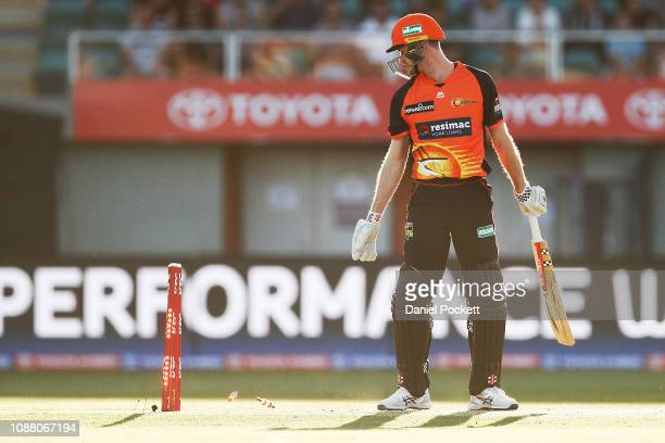 Ashton Turner of the Scorchers is bowled during the Big Bash League match between the Hobart Hurricanes and the Perth Scorchers at UTAS Stadium on...