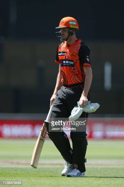Ashton Turner of the Scorchers looks dejected after being dismissed by Ben Laughlin of the Strikers during the Adelaide Strikers v Perth Scorchers...