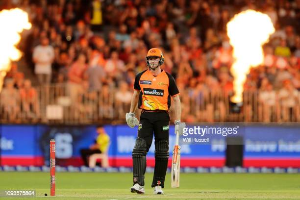 Ashton Turner of the Scorchers looks on after hitting a six during the Big Bash League match between the Perth Scorchers and the Sydney Sixers at...