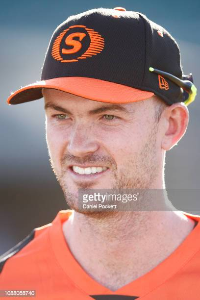 Ashton Turner of the Scorchers looks on during bat toss prior to the Big Bash League match between the Hobart Hurricanes and the Perth Scorchers at...