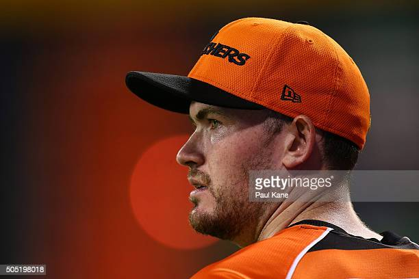 Ashton Turner of the Scorchers looks on while fielding during the Big Bash League match between the Perth Scorchers and the Melbourne Stars at WACA...