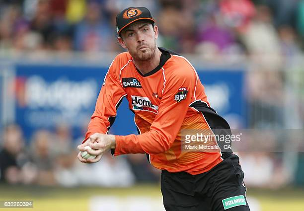 Ashton Turner of the Scorchers takes catch on the boundary rope to dismiss George Bailey of the Hurricanes during the Big Bash League match between...