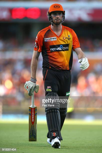 Ashton Turner of the Scorchers walks from the field after being dismissed during the Big Bash League match between the Perth Scorchers and the...