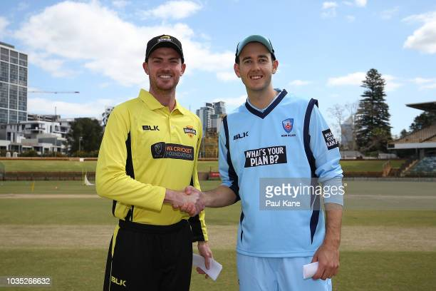 Ashton Turner of WA and Kurtis Patterson of NSW attend the coin toss during the JLT One Day Cup match between Western Australia and New South Wales...