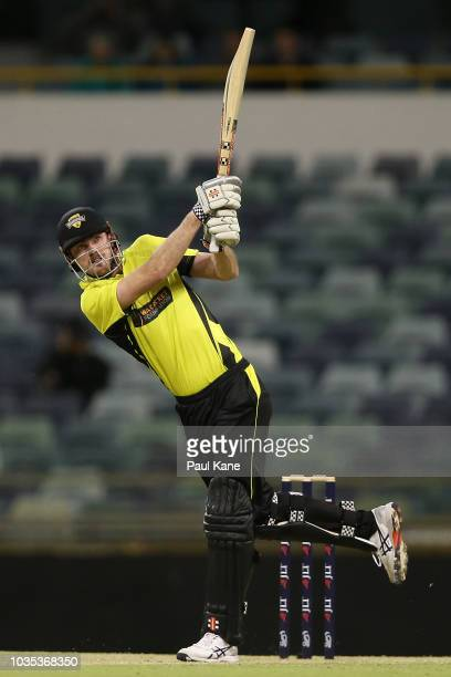 Ashton Turner of WA hits a six during the JLT One Day Cup match between Western Australia and New South Wales at the WACA on September 18 2018 in...