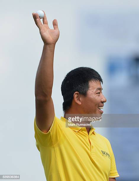 Ashun Wu of China celebrates winning the Lyoness Open during the final round of the Lyoness Open at Diamond Country Club on June 12 2016 in...