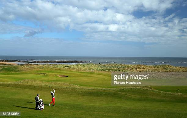 Ashun Wu of China during a practice round at the Alfred Dunhill Links Championship at Kingsbarns Golf Links golf course on October 5 2016 in St...