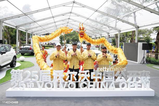 Ashun Wu of China, Haotong Li of China, Alexander Bjork of Sweden and Alexander Levy of France attend Opening ceremony prior to the start of the 2019...
