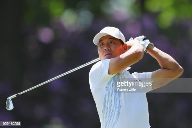 Ashun Wu of China plays his shot off the 2nd tee during the first round of the Belgian Knockout at the Rinkven International Golf Club on May 17 2018...