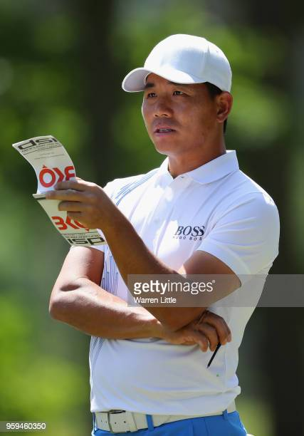 Ashun Wu of China prepares to play his shot off the 2nd tee during the first round of the Belgian Knockout at the Rinkven International Golf Club on...
