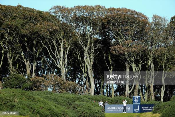 Ashun Wu of China tees off on the 12th during day one of the 2017 Alfred Dunhill Championship at Kingsbarns on October 5 2017 in St Andrews Scotland