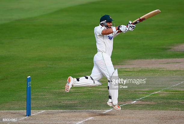 Ashwell Prince of Notts hits out during the LV County Championship match between Nottinghamshire and Hampshire at Trent Bridge on September 25 2008...