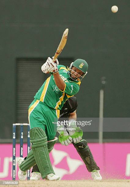 Ashwell Prince of South Africa hits a boundary during the ICC Cricket World Cup 2007 Super Eight match between New Zealand and South Africa at the...