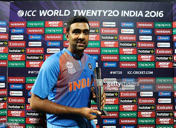 Ashwin of India poses with his man of the match trophy during the ICC World Twenty20 India 2016 match between India and Bangladesh at the Chinnaswamy...