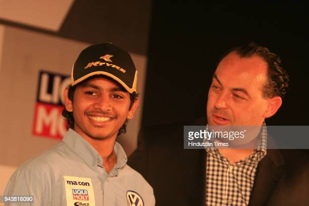 Ashwin Sundir Youngest Racing Champion and Marian Hamprecht Owner of the macon motorsport team during a press conference in New Delhi Ashwin will be...