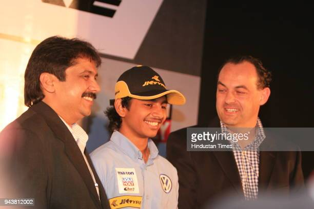 Ashwin Sundir Youngest Racing Champion Sanjay Sharma Head Motorsports JK Tyre Ltd and Marian Hamprecht Owner of the macon motorsport team during a...