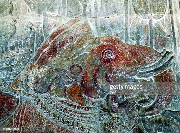 Asia ArchaeologyCambodia The ancient ruins of Angkor Siem Reap city Cambodia Archaeology Angkor Wat Bas Relief Painting
