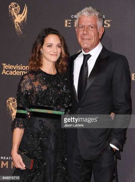 Asia Argento and Anthony Bourdain attend the 2017 Creative Arts Emmy Awards at Microsoft Theater on September 9 2017 in Los Angeles California