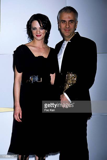 Asia Argento and Bruno Coulet during 30th Cesars Awards at Presse Room Theatre du Chatelet in Paris France