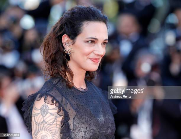 Asia Argento attends the Ismael's Ghosts screening and Opening Gala during the 70th annual Cannes Film Festival at Palais des Festivals on May 17...