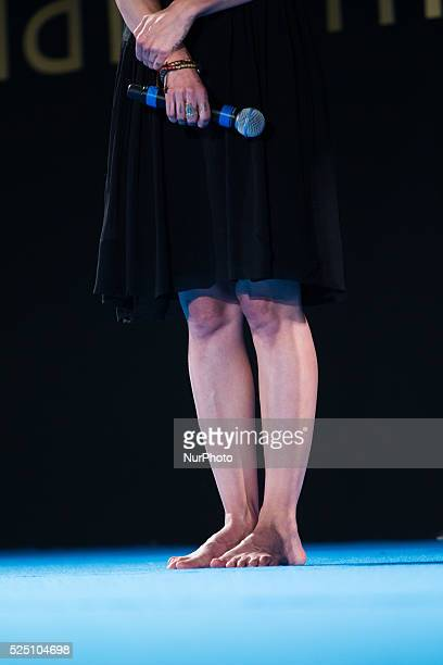 Asia Argento barefoot on stage attends the 61th Taormina Film Festival on June 13 2015 in Taormina Italy