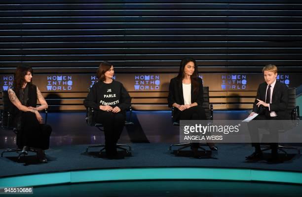 Asia Argento Laura Boldrini Ambra Battilana Gutierrez and Ronan Farrow speak onstage at the 2018 Women In The World Summit at Lincoln Center on April...