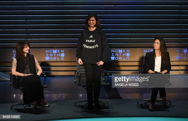 Asia Argento Laura Boldrini and Ambra Battilana Gutierrez speak onstage at the 2018 Women In The World Summit at Lincoln Center on April 12 2018 in...