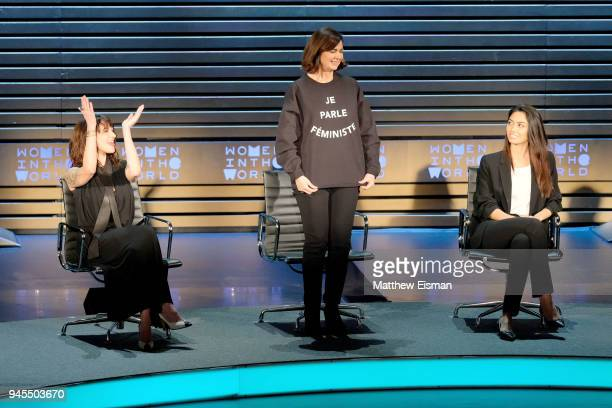 Asia Argento Laura Boldrini and Ambra Battilana Gutierrez speak onstage during the 2018 Women In The World Summit at Lincoln Center on April 12 2018...