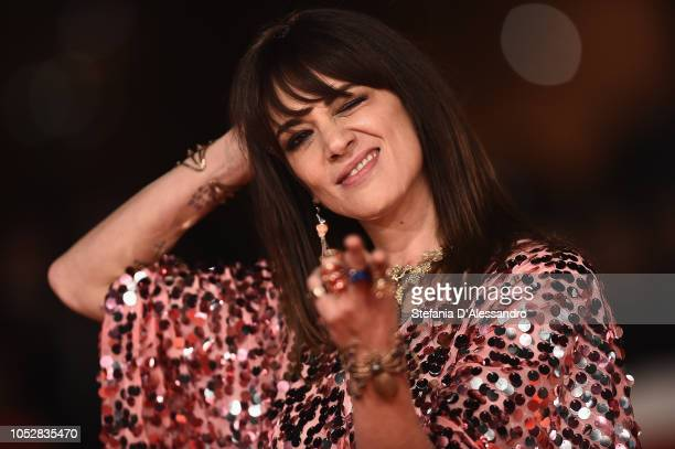 Asia Argento walks the red carpet ahead of the Noi Siamo Afterhours screening during the 13th Rome Film Fest at Auditorium Parco Della Musica on...