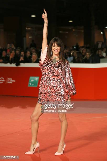Asia Argento walks the red carpet ahead of the 'Noi Siamo Afterhours' screening during the 13th Rome Film Fest at Auditorium Parco Della Musica on...