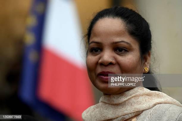 Asia Bibi, a Pakistani Christian woman, arrives for a meeting witht French President, on February 28, 2020 at the Elysee Palace in Paris. - Asia...