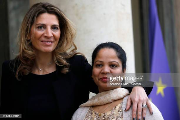Asia Bibi and Anne-Isabelle Tollet seen leaving Elysee Palace after a meeting with French President Emmanuel Macron, on February 28, 2020 in Paris,...
