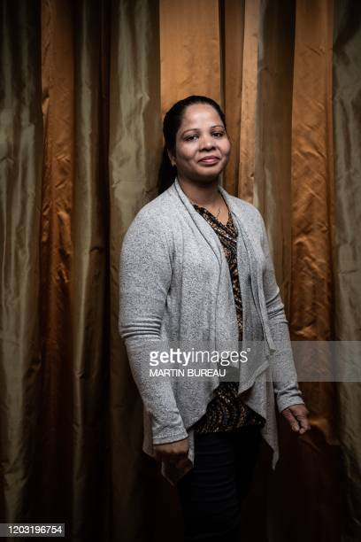 Asia Bibi from Pakistan, poses during a photo session in Paris, on February 25, 2020. - The case of Asia Bibi, a Christian woman sentenced to death...