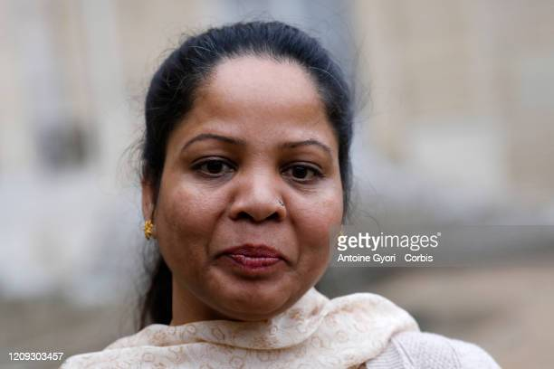 Asia Bibi leaves Elysee Palace after a meeting with French President Emmanuel Macron, on February 28, 2020 in Paris, France.
