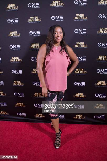 Asia Chandler The Donnie Simpson Show poses for a photo on the red carpet at TV One's DC Premiere of When Love Kills The Falicia Blakely Story with a...