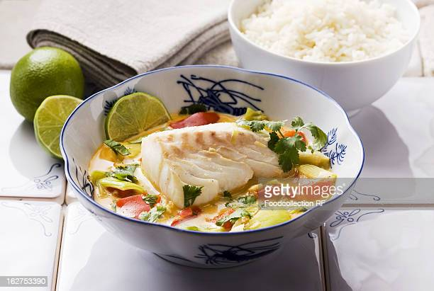 Asia, Cod with vegetables and coconut milk and side of rice