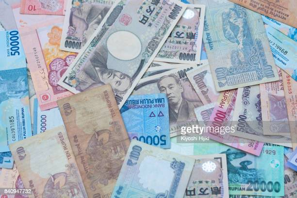 asia currency - japanese yen note stock photos and pictures