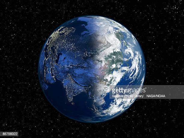 asia , day and night, satellite image of the earth - globe terrestre photos et images de collection