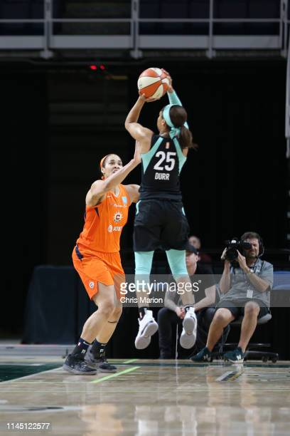 Asia Durr of New York Liberty shoots the ball against the Connecticut Sun on May 19 2019 at the Times Union Center in Albany New York NOTE TO USER...