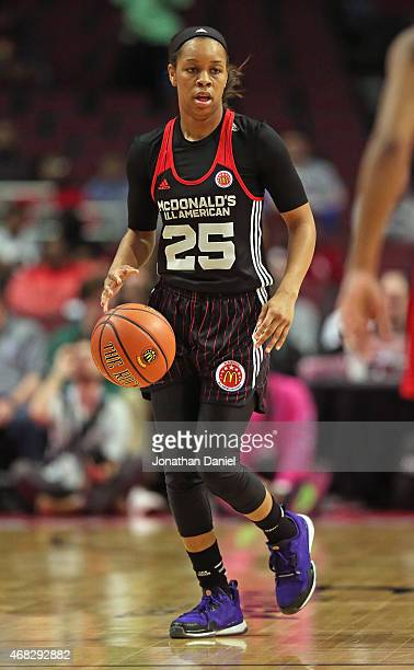 Asia Durr of the East team brings the ball up the court during the 2015 McDonalds's All American Game at the United Center on April 1 2015 in Chicago...